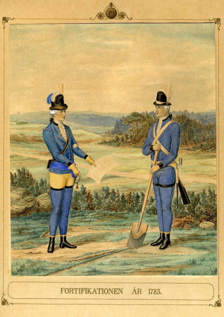 Akvarell med uniformsskiss för Fortifikationen år 1783.