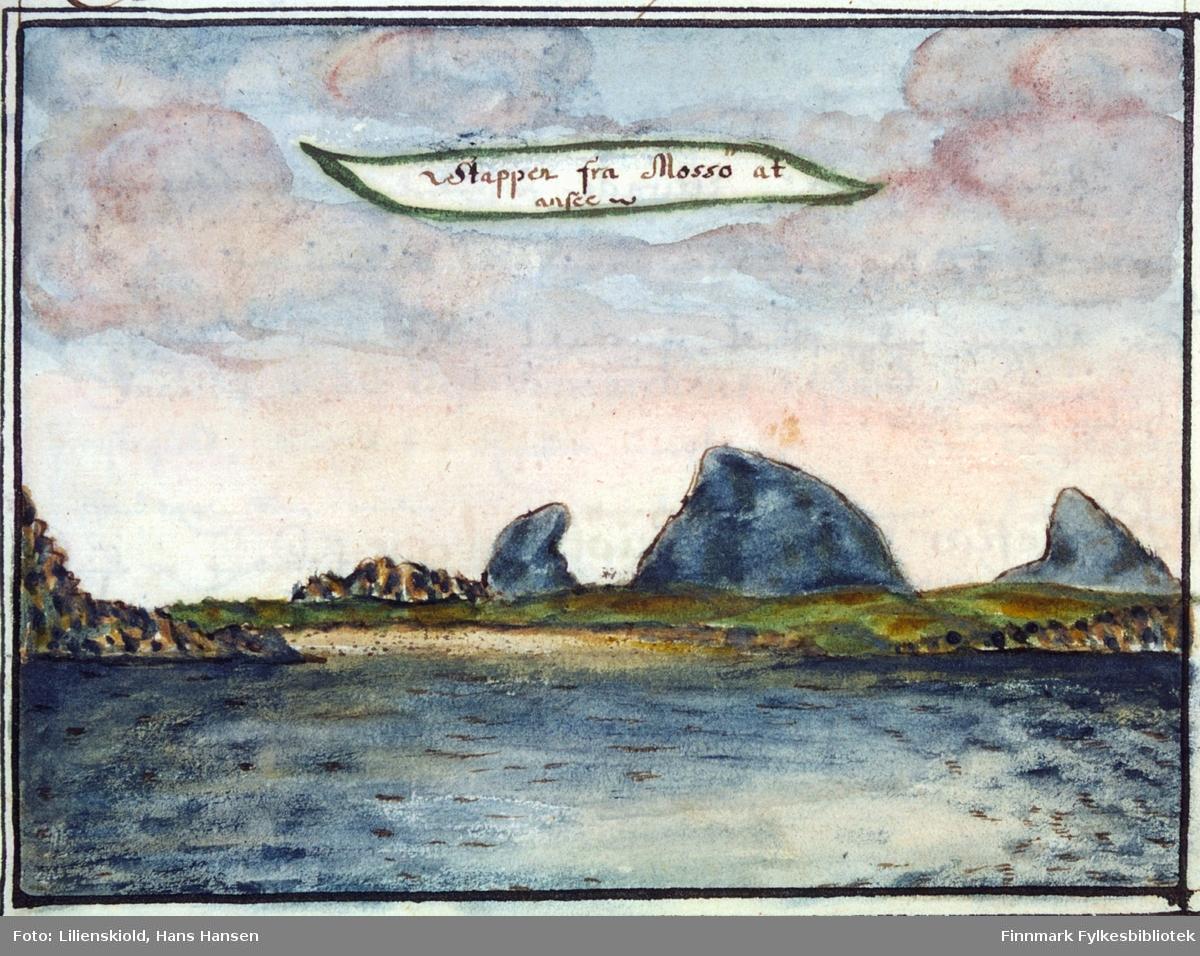 Stappen fra Mossö at ansee. Utsikt mot de karakteristiske fjellformasjonene Stappene fra Måsøy
