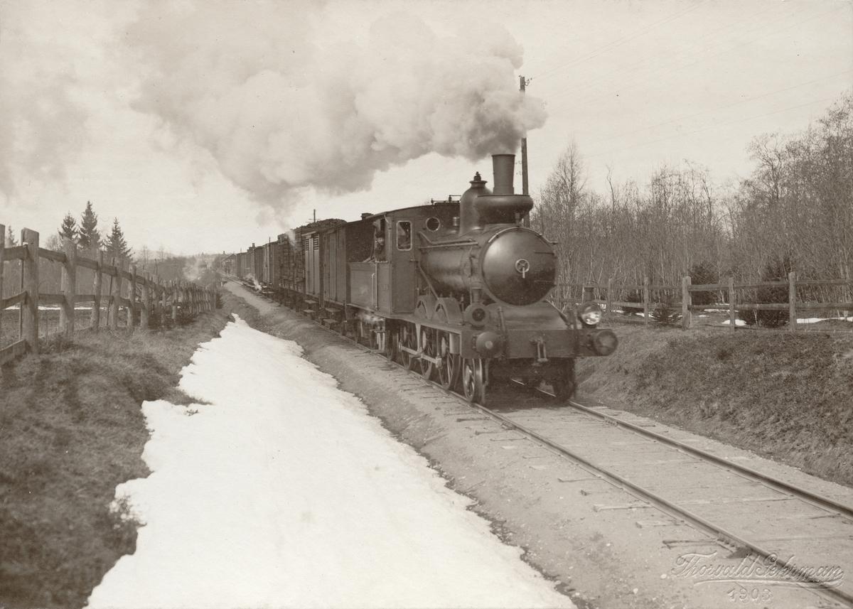 Persontåg längs Södra Dalarnas Jernväg på bansträckan Hedemora-Näs.