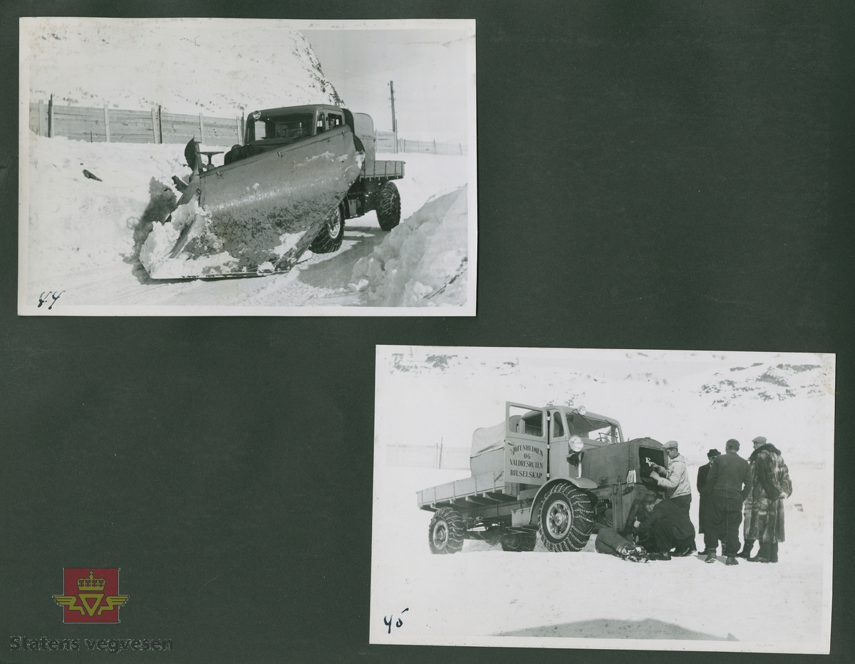 """FWD lastebilen """"Filefjell-Gubben"""" ble innkjøpt av JVB  i 1936. Den til da kraftigste i landet. Vegfolk kom da også fra fjern og nær for å bivåne brøytingen, og for å se og lære. Etter en tøff vinter 1936-1937 mottok Colbjørnsen brev fra A/S Jotunheimen og Valdresruten Bilselskap  30.04.1937, hvor de sier seg meget fornøyd med bilen de kjøpte før jul i 1936. Jf. boka """"Familiefirmaet-utenom allfarvei/2000 Årsboken."""" Colbjørnsen & Co A/S.  """"A/S Jotunheimen og Valdresruten Bilselskap (JVB) ble etablert i 1919 og har vært selve livsnerven gjennom Valdresbygdene. """"Filefjell-Gubben"""" ble satt inn i arbeidet med å holde Filefjellvegen oppe. Med felles innsats og arbeid fra Staten og selskapets side, lykkes det å holde Filefjellvegen farbar for vintertrafikk vinteren 1936-1937, den første fjellovergang i Norge som var åpen året rundt. """" Jf. """"JVB. Den spede begynnelse-A/S Jotunheimen og Valdresruten Bilselskap."""""""