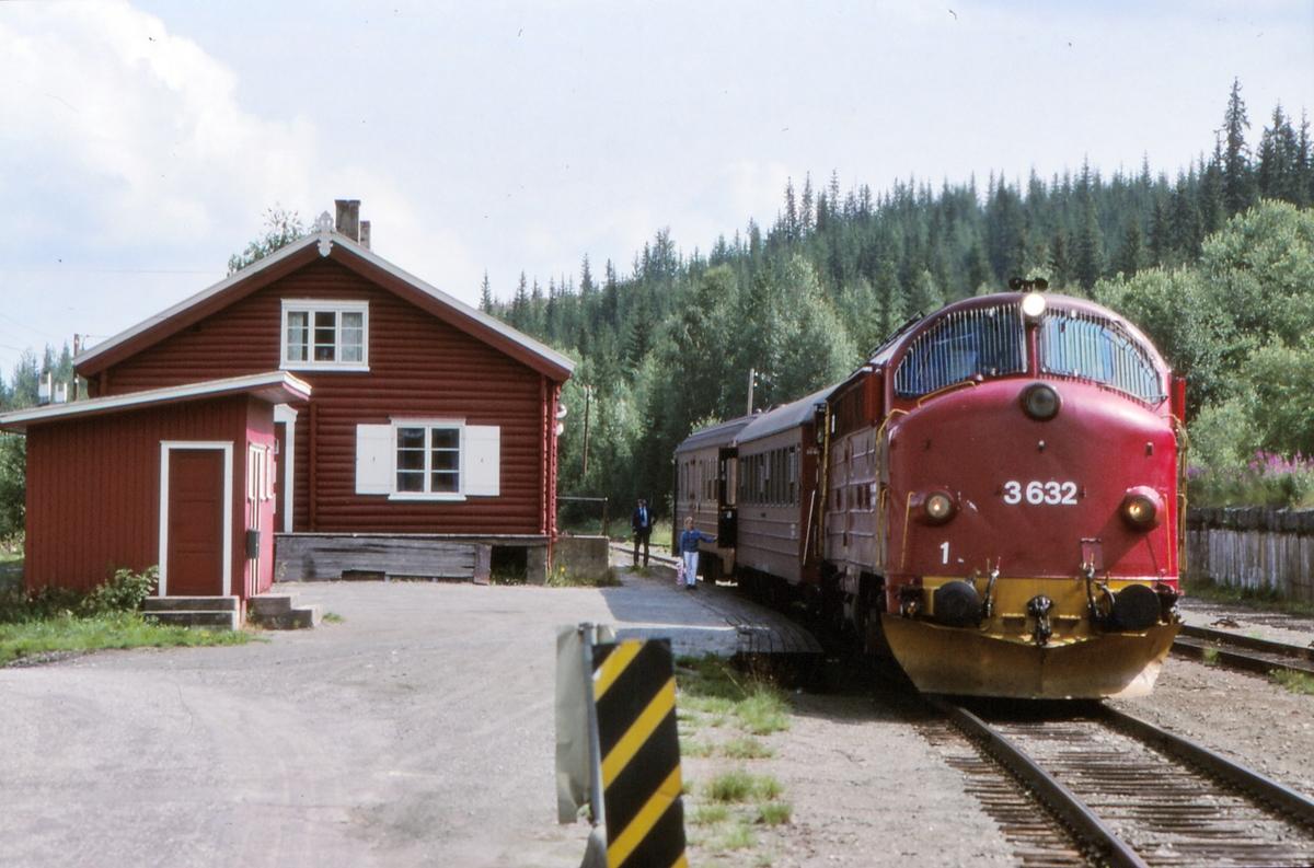 NSB persontog 281 Oslo S - Fagernes på Etna stasjon med dieselelektrisk lokomotiv Di 3 632.