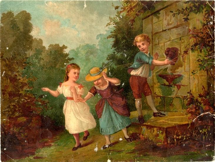 Oljetryck. Pusselspel med 6 st. bygglappar (4 saknas). En pojke skojar med två småflickor vid en liten fontän.