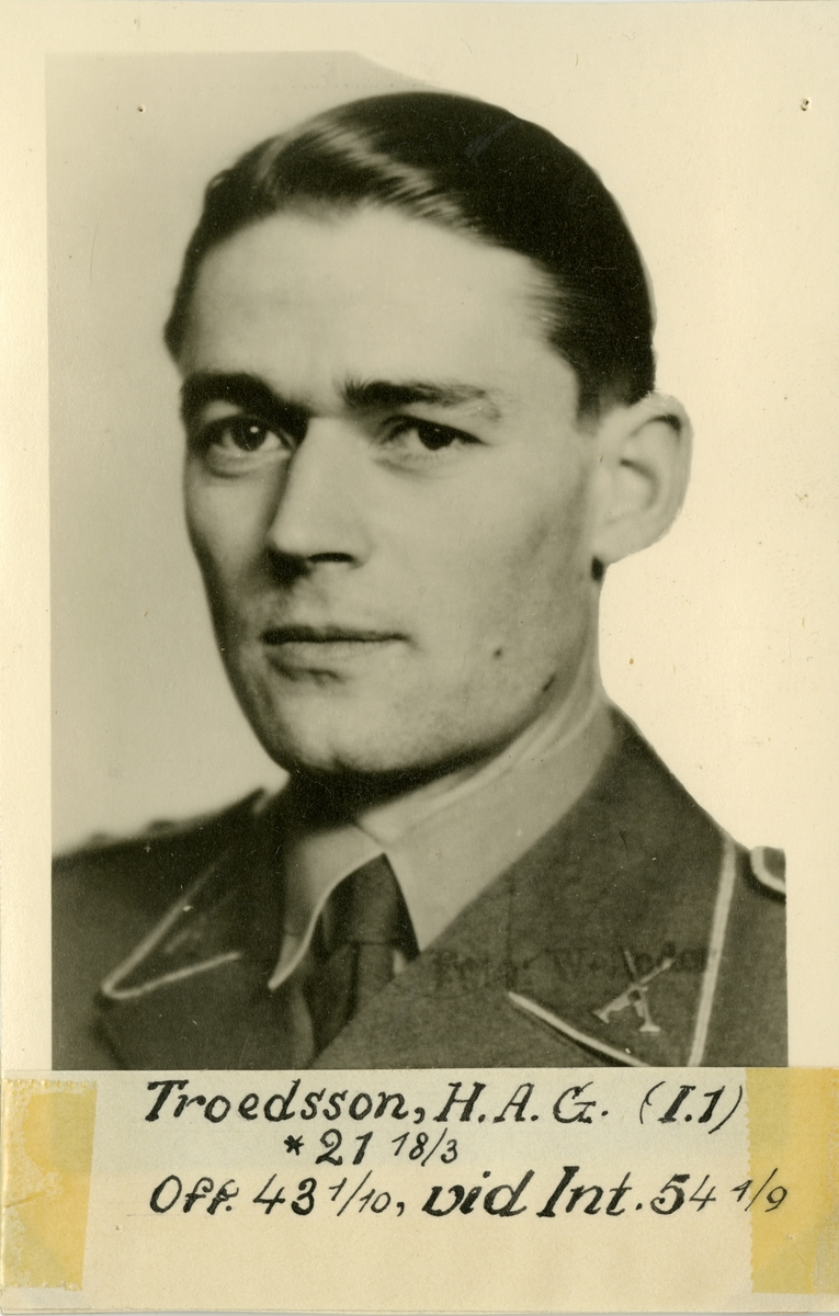 Porträtt av Henrik Anders Gustaf Troedsson, officer vid Svea livgarde I 1 och Intendenturkåren.