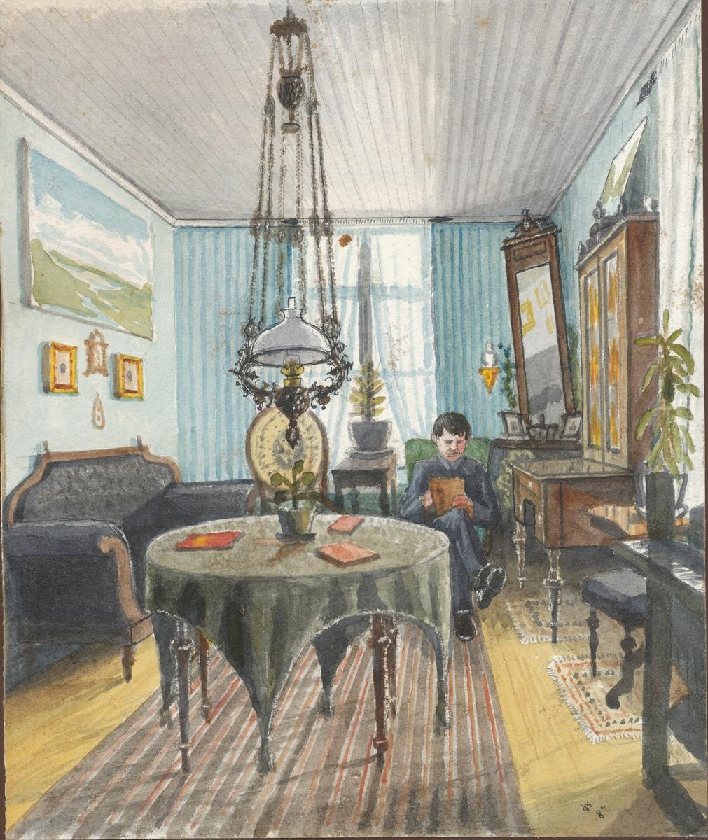 Otto Valstads ungkarsstue i Tønsberg (akvarell)