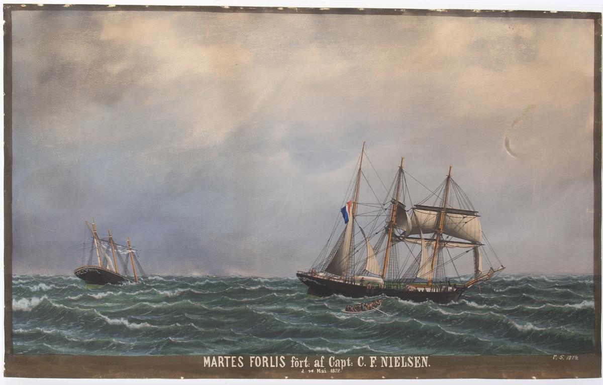 Maleri av barken MARTE/MARTHAs forlis 4. mai 1874. Skipet ses synkende til venstre i motivet med baugen først. Besetningen er i livbåt og reddes av en fransk bark.