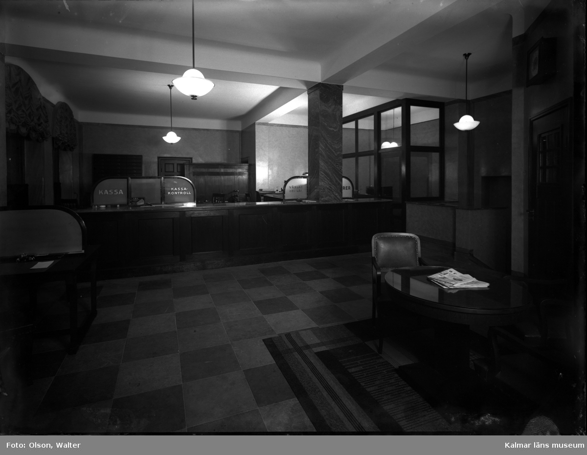 Anonym banklokal i Kalmar 1932.