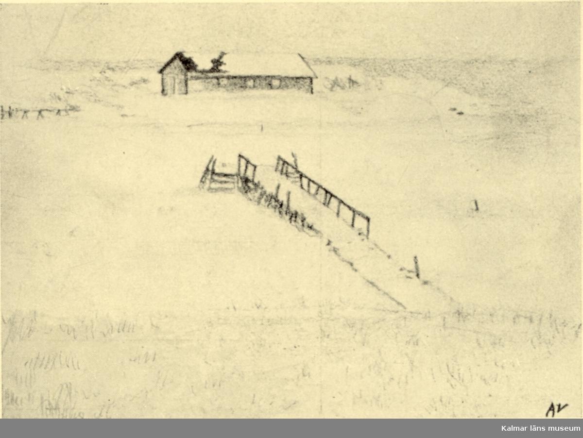 Teckning över Laboratorieholmen sett från Kattrumpan. Teckning (25/1 1895) av Axel Lekander.