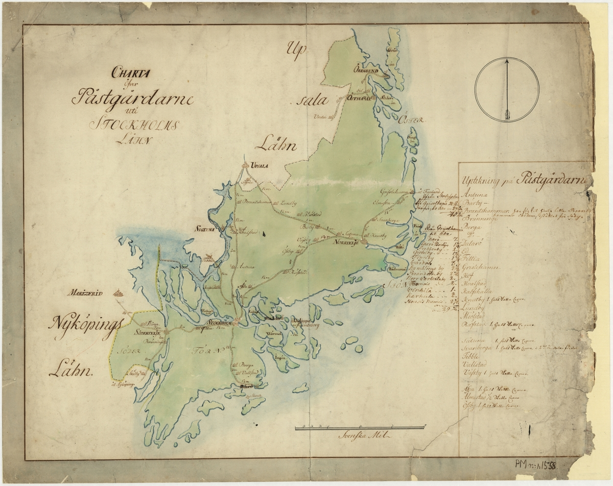 Postkarta över postgårdarna i Stockholms län under 1700-talets mitt. Kartan visar endast Stockholms län, de angränsande länen namnges endast vid sidan om. En förteckning över postgårdar finns i nedre högra hörnet. Kartan är ritad och kolorerad för hand. Trasig i höger kant.