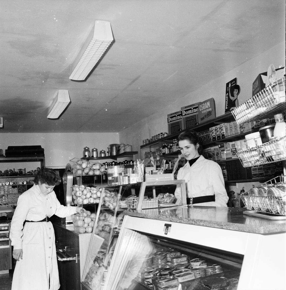 Bebyggelse och smedja. Handlare Hedin, Larsson Smederna Lagerhäll, Lindblom och Eriksson Undersvik januari 1956