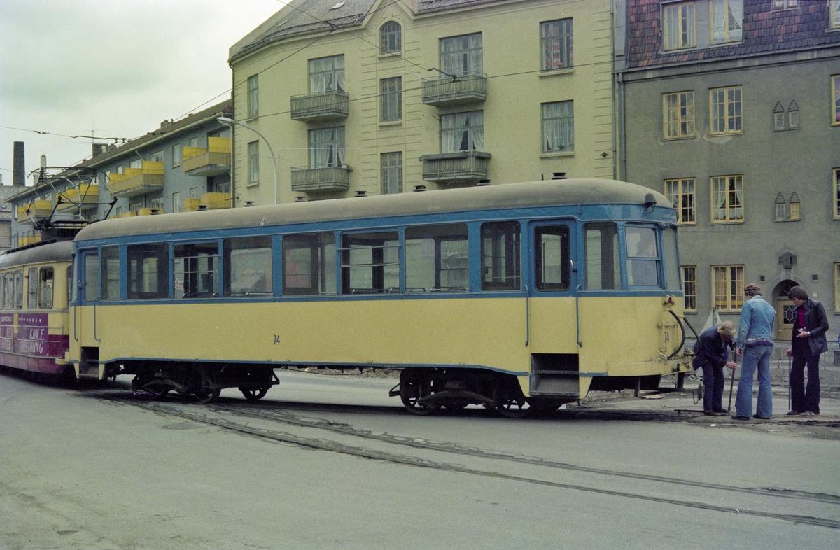 Trondheim Sporveis tilhengervogn nr. 74 ved Voldsminde.