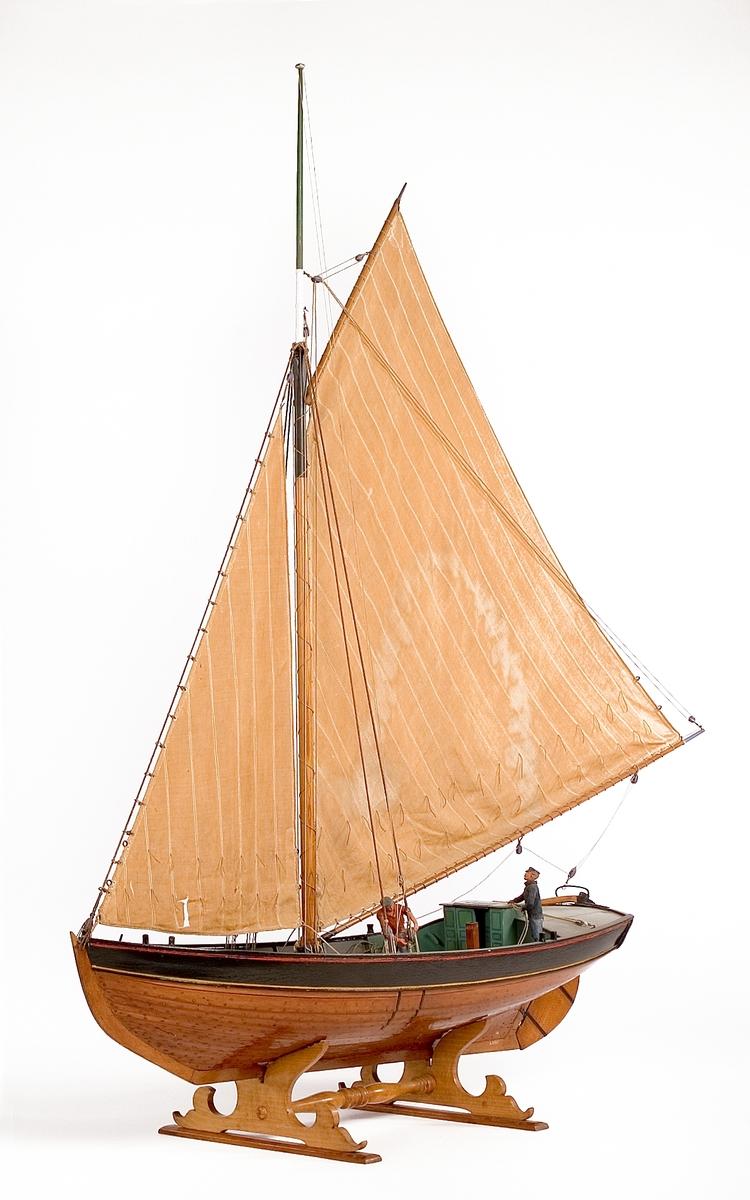 Riggad modell av sandkil. Tillverkad 1922 på Örlogsvarvet (Modelllkammaren) i Stockholm under ledning av amiral Hägg.