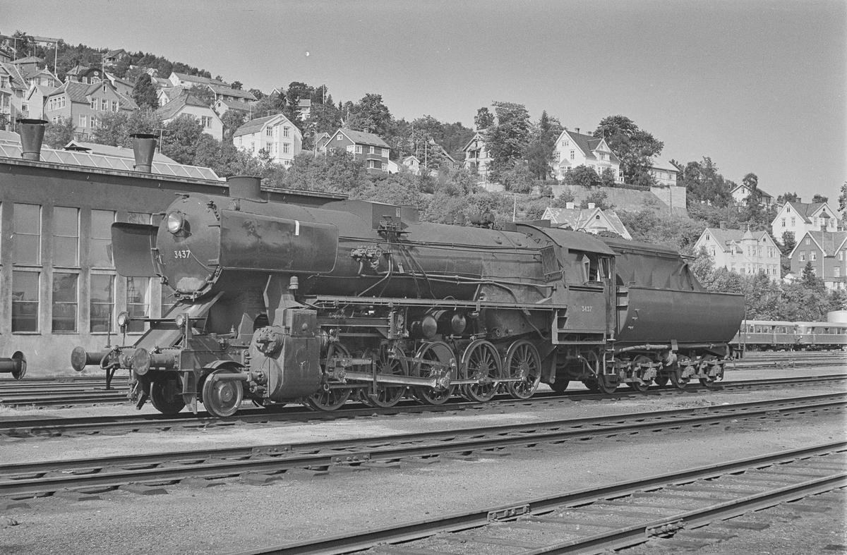 Damplokomotiv type 63a nr. 3437 på Marienborg ved Trondheim.