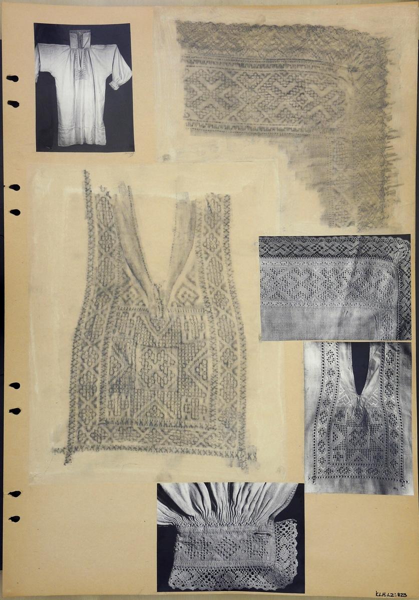 Kartongark två frottage och fyra fotografier av skjorta