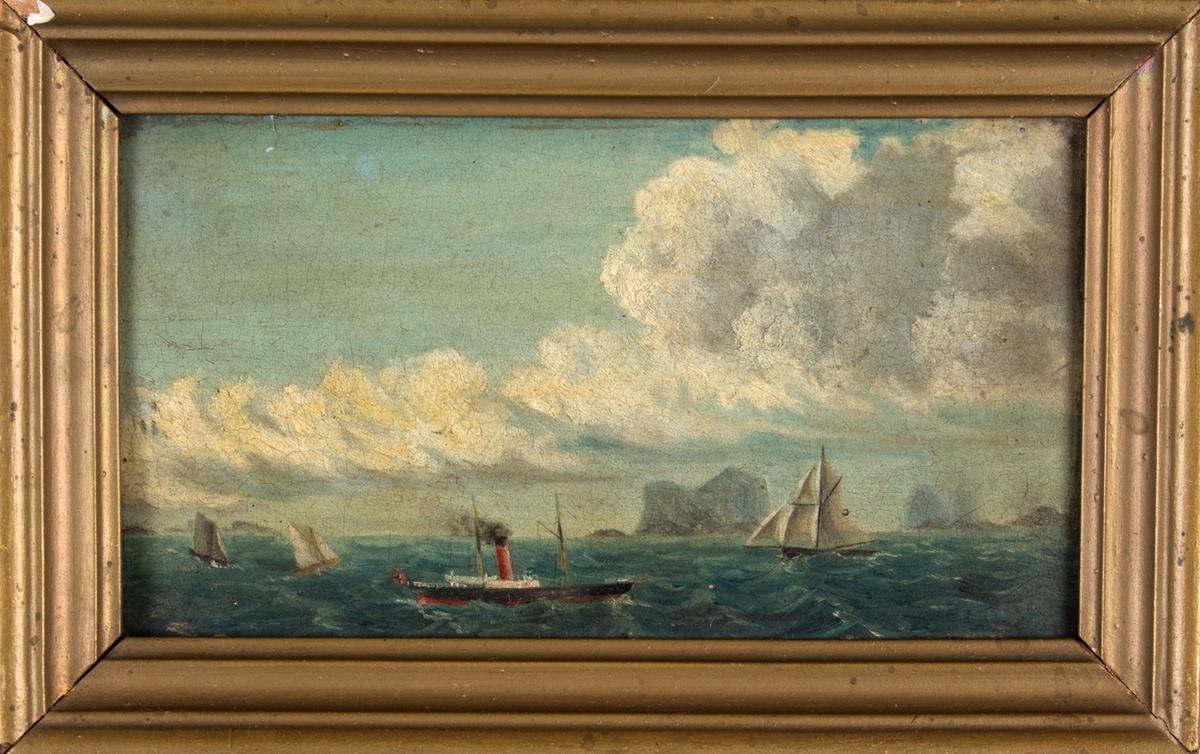 Maleri av DS KONG OSCAR under fart. Ser en del mindre seilfartøy i bakgrunn samt holmer i bakgrunn.