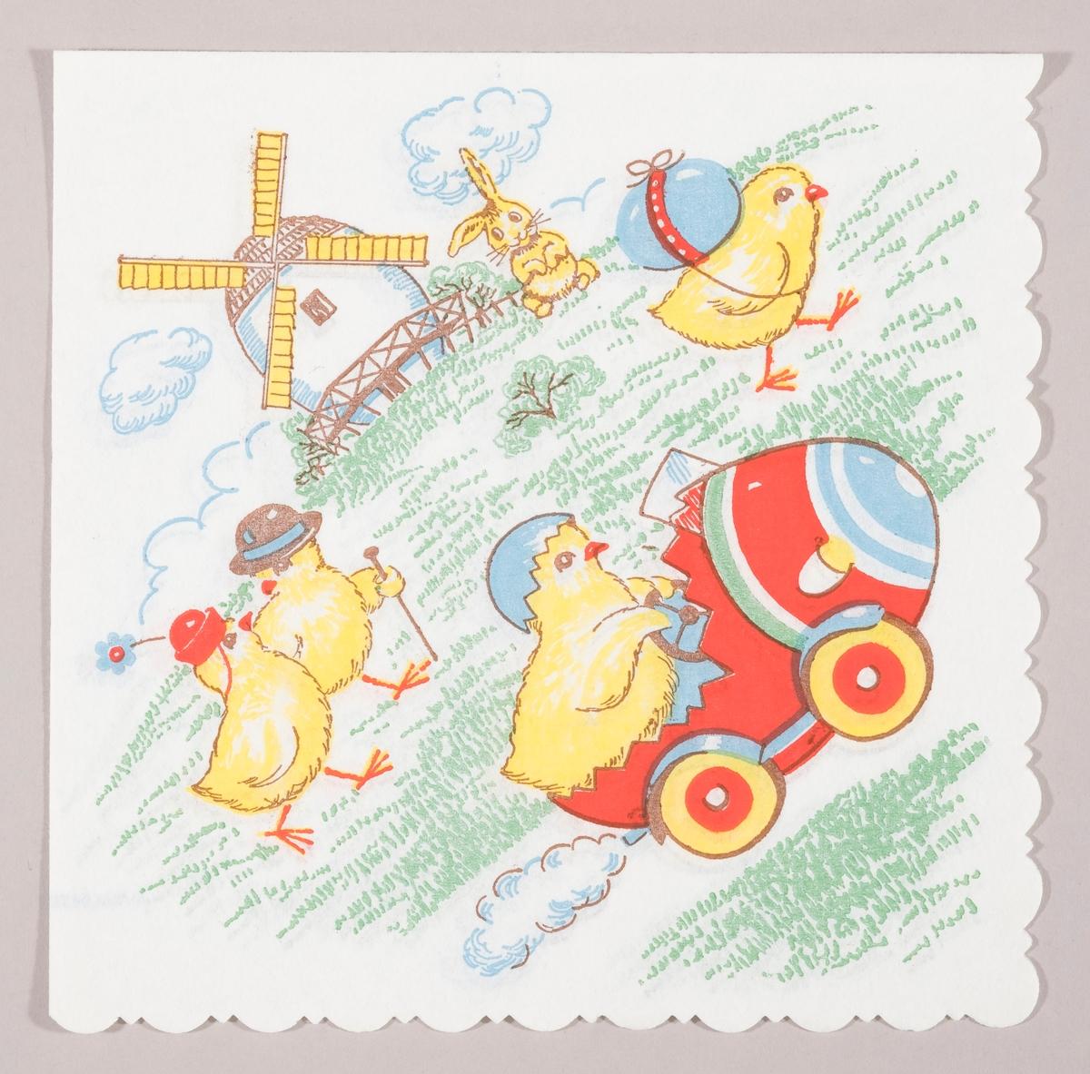 En kylling som kjører i en eggebil. En kylling som bærer på et påskeegg. En kylling med damehatt som går tur sammen med en kylling med herrehatt og spaserstokk. I bakgrunnen en vindmølle og en sittende hare.