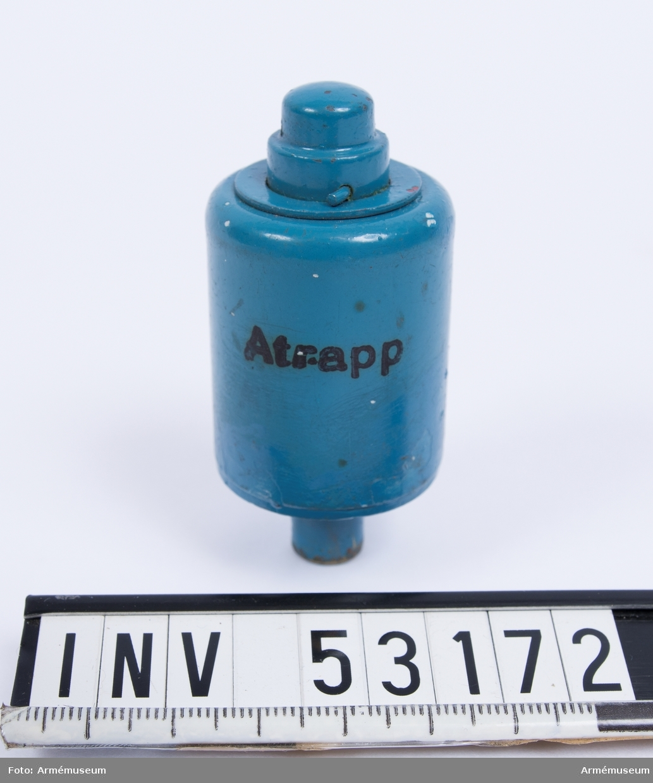 """Grupp E V, F III, G III. Blind men märkt som skarp ammunition. Märkt """"atrapp""""."""