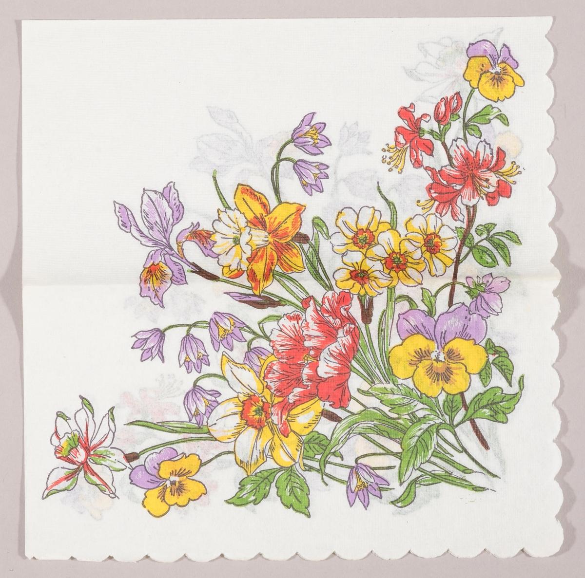 Forskjellige vårblomster bla. liljer, stemorblomst og tulipaner.