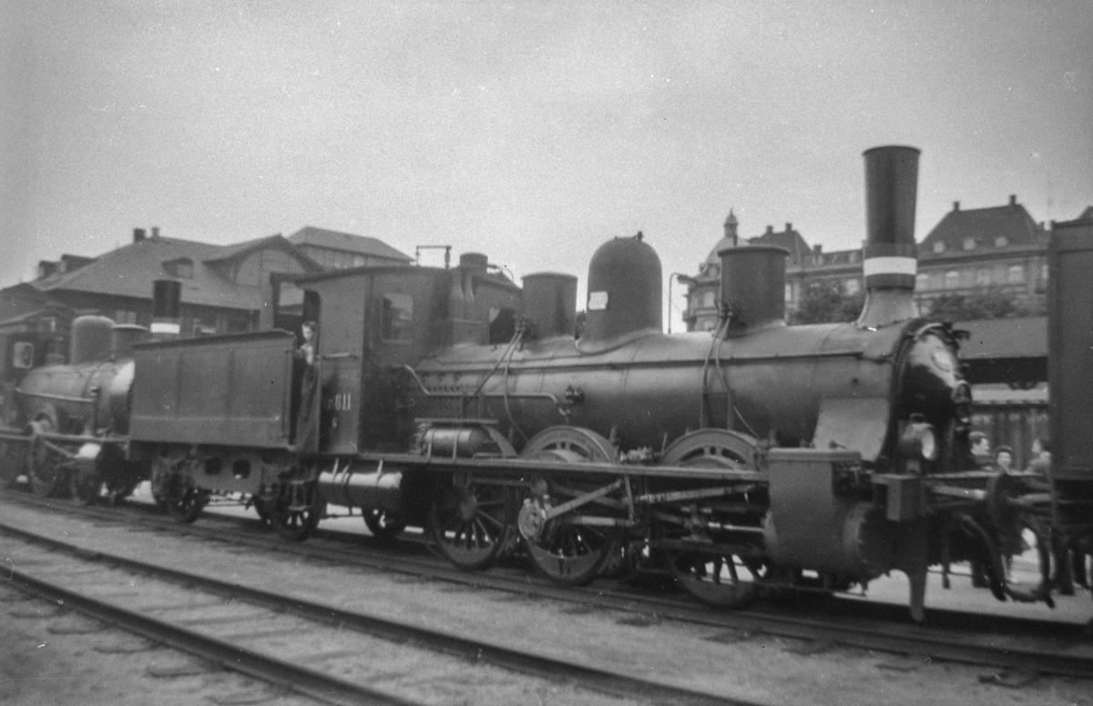 Dansk damplokomotiv type G nr. 611 ved København Østerport.