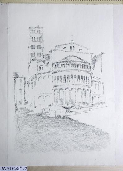 Kolteckning. Italienskt stadsmotiv. Absiden på en större katedral.