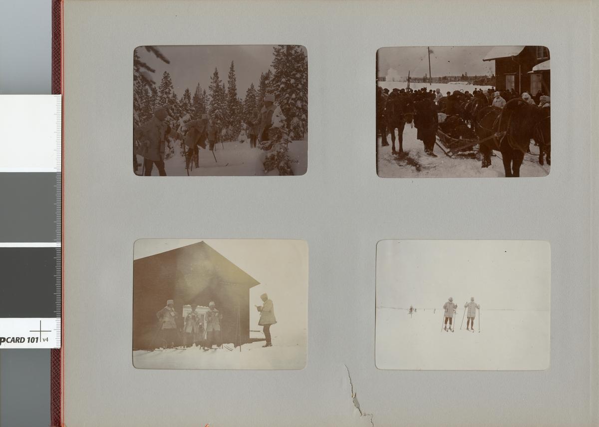 Smålands husarregemente K 4 på skidor, vinterövning i Norrbotten omkring 1910.
