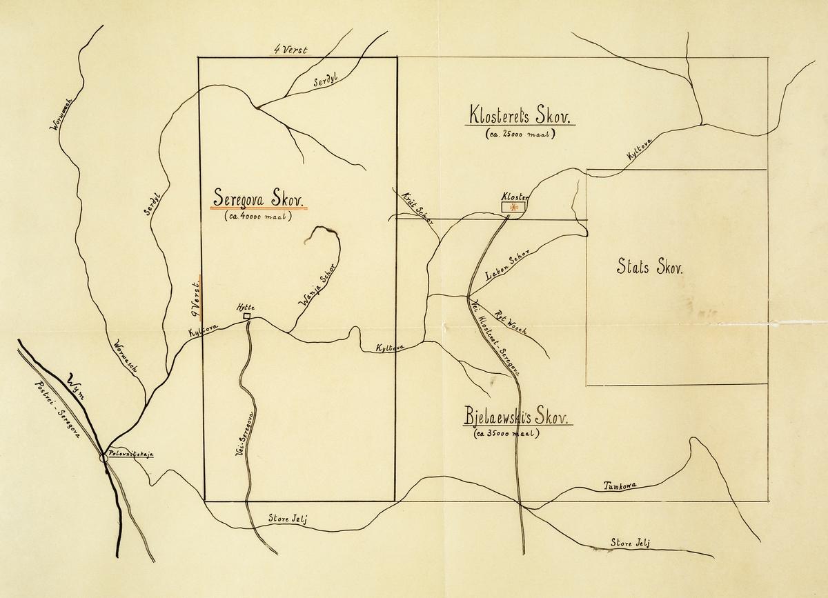 Håndtegnet kart over skogområder i Nordvest-Russland, der trelasthandlerne Thorleif Bache (1854-1920) og Jens Vig (1873-1965) fra Drammen tidlig på 1900-tallet kjøpte noe som kaltes Seregovo-skogen, på kartet markert med et rektangel (til venstre) og navngitt «Seregova Skov».  Ifølge det samme kartet skal eiendommen ha vært på 40 000 mål, andre kilder sier 43 000 mål (dekar) eller 4 300 hektar.  I nordøst grenset drammensinvestorenes skog mot en klosterskog på om lag 25 000 dekar og i sørøst mot noe som kaltes «Bjelaewski's skov» på om lag 35 000 mål.    Lengre øst i området lå det også en del statsskog.  I denne regionen hadde det knapt vært drevet tømmerskogbruk med henblikk på industriell bearbeiding av virket for salg av trelast på det internasjonale markedet før i den perioden da de nevnte investorene kjøpte Seregovo-skogen.  Vinteren 1909-1910 sendte de den erfarne og robuste hadelendingen Andreas Kammerud (f. 1863[?]) østover for å bestyre driftene med 17 år gamle Egil Abrahamsen (1893-1979) som assistent.  Assistentens viktigste oppgaver var å være tolk, kokk og bud, samt å bistå med tømmermåling og fløtingsadministrasjon.  Det var transporten fra Seregovo til sagbrukene i Arkhangelsk som var den mest krevende delen av prosjektet for de driftsansvarlige.  Det startet på et vassdrag som gikk gjennom Seregovo-skogen – Kultova – og fortsatte på større elver som kaltes Vym og Vytsjegda, før tømmeret nådde Dvina, hvor det ble fløtet ned til kystbyen Arkhangelsk.  Fløtingsdistansen skal ha vært på om lag 1 300 kilometer.  Så lang fløting var det bare de aller ypperste kvalitetene – grove, rettvokste og på alle måter feilfrie rotstokker – som tålte.  Den andre driftssesongen, vinteren 1910-11 fikk for øvrig Kammerud og Abrahamsen problemer med naboskapsrelasjonen til det nevnte klosteret.  Denne episoden er beskrevet i et utsnitt fra Abrahamsens memoarer, som er gjengitt under fanen «Opplysninger».
