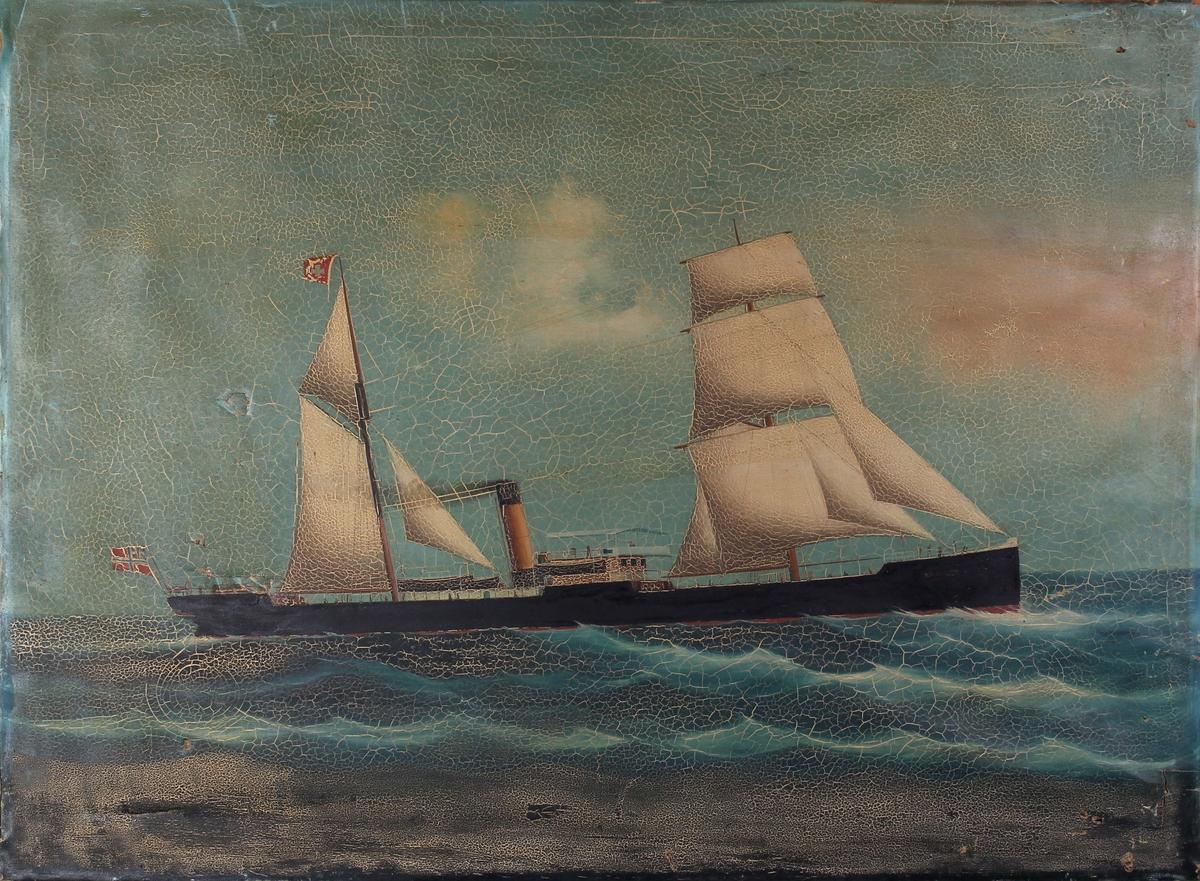Skipsportrett av DS RAYLTON DIXON under fart med seilføring i åpen sjø. Fører unionsflagg akter og rederiflagg i mast.