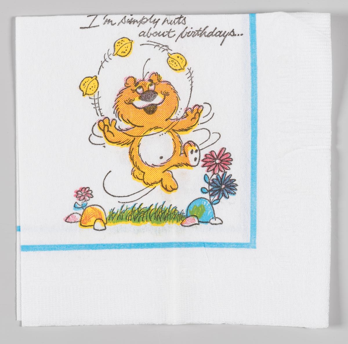 En gul teddybjørn sjonglerer med tre nøtter.