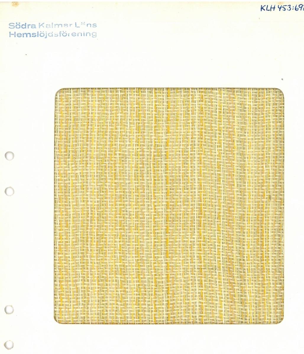 """Pärm med vävprover till gardiner. Gardin """"Vendela"""" gul Formgivare: Kerstin Butler 1961-1969"""