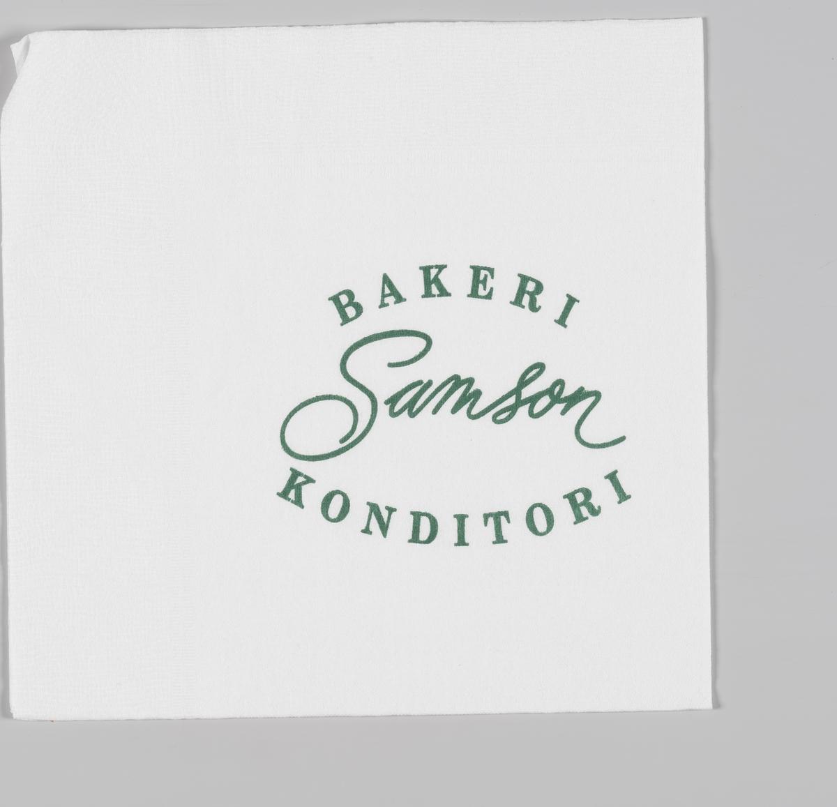 En reklametekst for Baker Samson  Wilhelm Bismark Samson startet sitt første bakeri i 1894 på Egertorget i Kristiania.  Reklame for Samson på serviettene MIA.00007-004-0001 til MIA.00007-004-0006