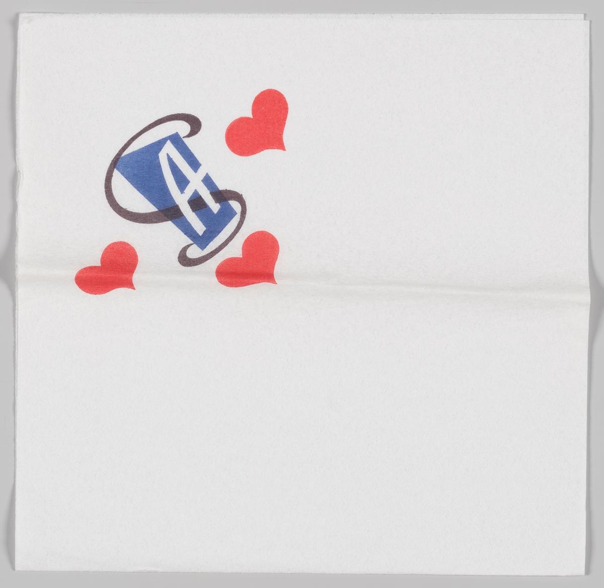 Hjerter og en reklamelogo med bokstaven A (ukjent produkt).