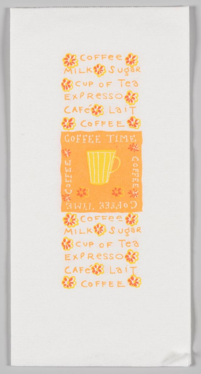 En firkant med en gul kaffekopp og reklametekst for Coffee Time.  Coffee Time er en kanadisk kafèkjede.