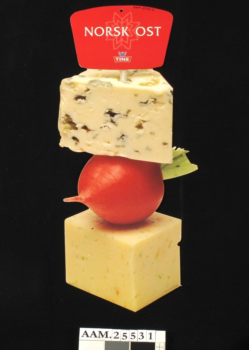 Fargefoto av ostestykker og redikk + tekst og Tine-merke.
