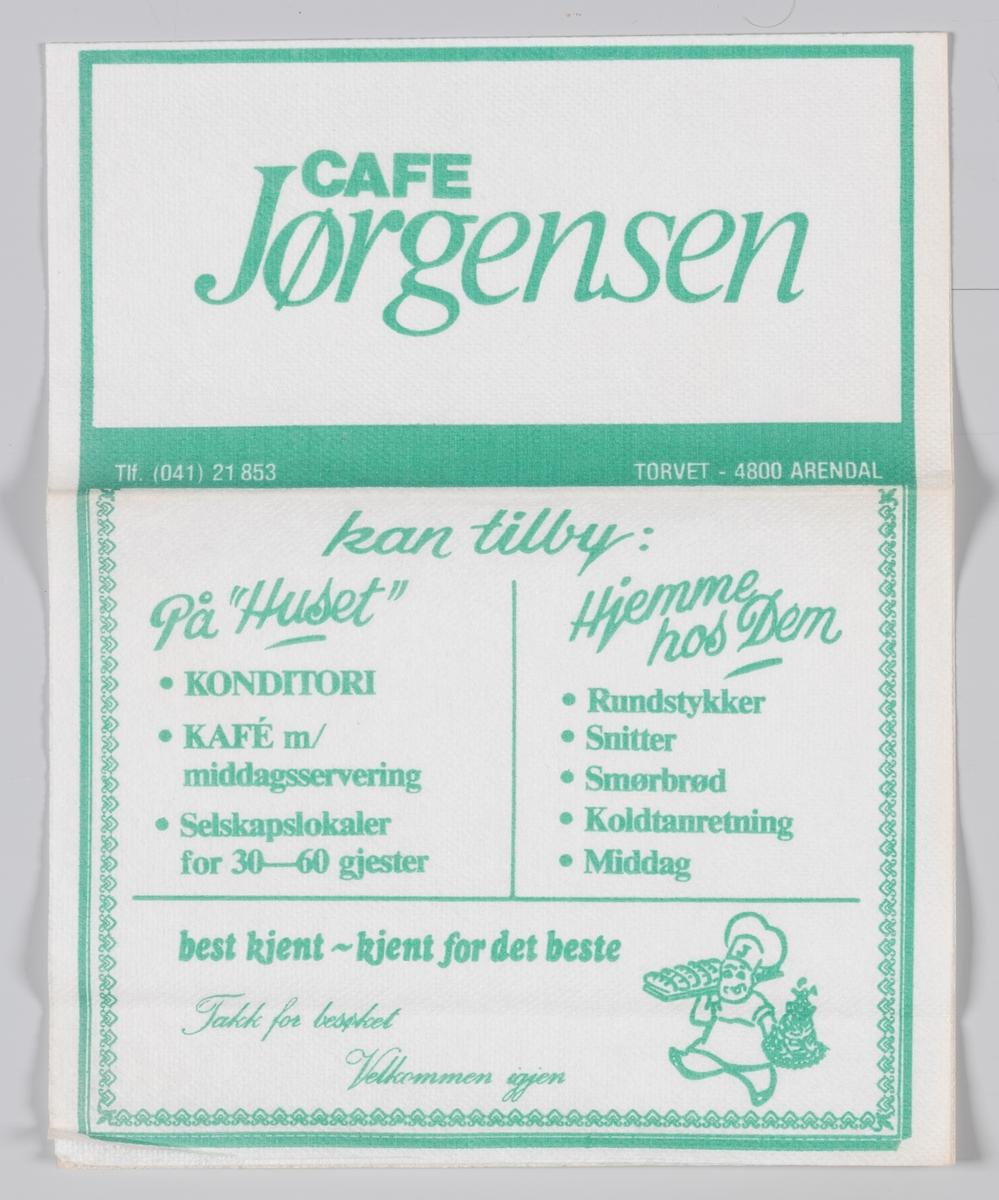 En reklametekst for Cafe Jørgensen i Arendal.  Baker Jørgensen ble etablert av Fredrik Emanuel og Karin Jørgensen i 1904.   Hoved utsalget og produksjonslokalene hvor det daglig produseres brød og bakevarer er i hovedbygningen på Torvet, hvor virksomheten har vært siden 1904.  Samme reklame på MIA.00007-004-0200 og MIA.0000-004-0201.
