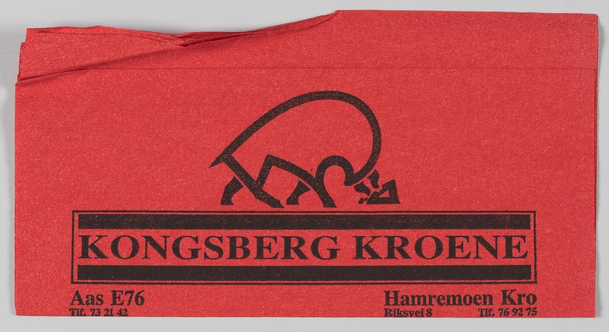 Et stilisert dyr og en reklametekst for Kongsberg kroene, Aas E76 og Hamremoen Kro.