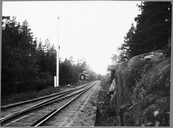 Banvaktstuga 966 på spåret mot Ankarsrum Bruk, på linjen Hul