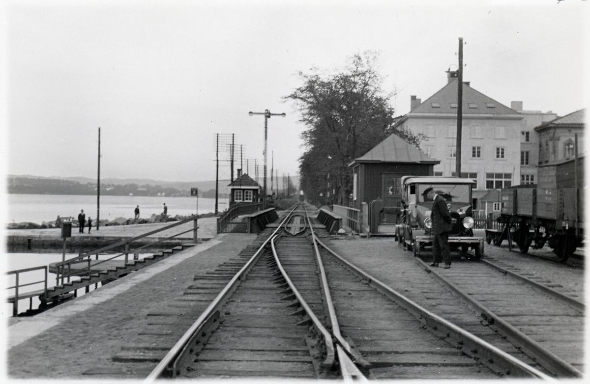 Del av spårområdet utanför järnvägsstationen i Jönköping.