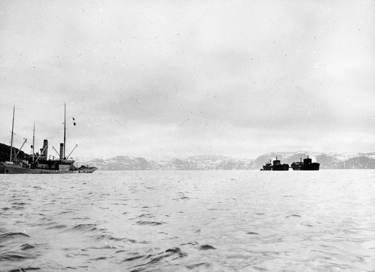 Dampskip merket BJERGNINGSDAMPER, liknenede dampskip ligger bak. På fjorden to dampskip som brukes til bjergningsarbeid.