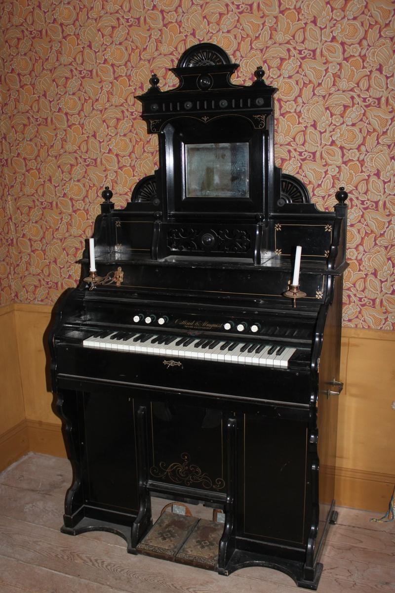 Svartmålad tramporgel med ett överstycke som är rikt utsirat i nyrenässansstil och en infälld spegel. Två ljushållare av mässing i jugendstil är fastsatta i instrumentet. Orgeltramporna är klädda med linoleummatta och försedda med firmanamnet. Ett lock går att dra ut över tangenterna. Orgeln är dekorerad med slingor i guldfärg.