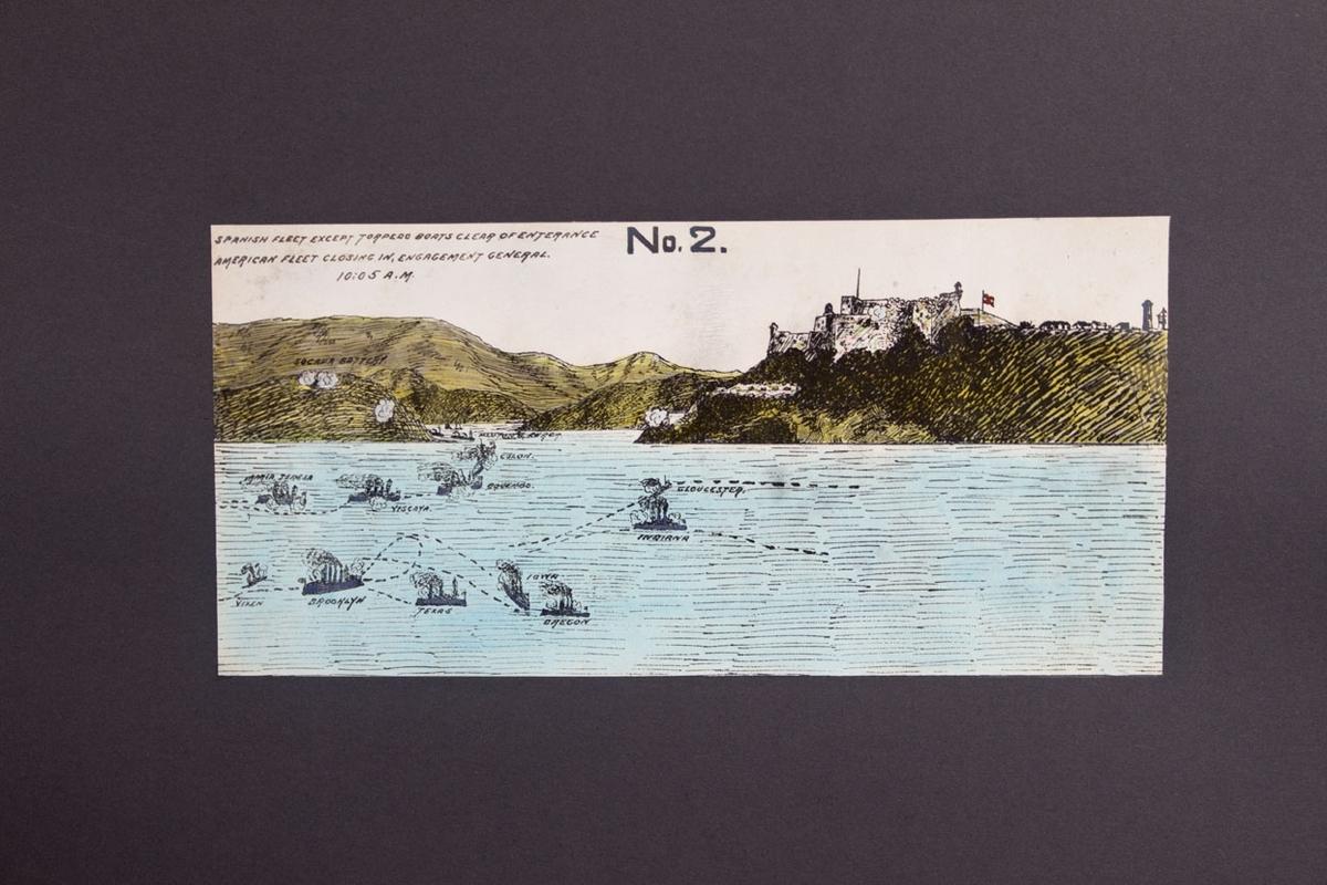 Kopi av håndkolorert skisse som viser sjøslaget ved Santiago de Cuba i 1898 mellom spanske og nordamerikanske sjøstridskrefter.