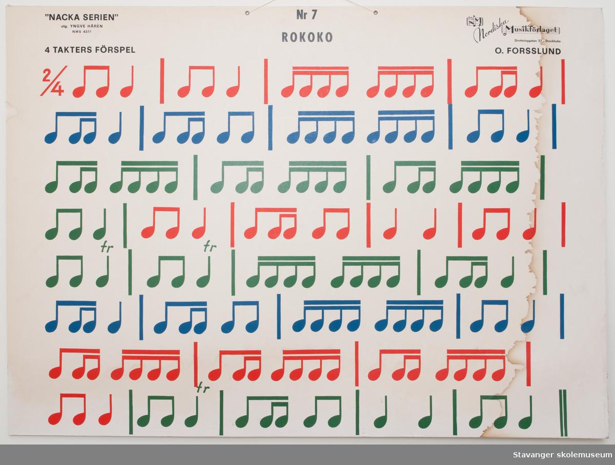 Plansje brukt i skoleundervisning. Musikk. Motiv foran.