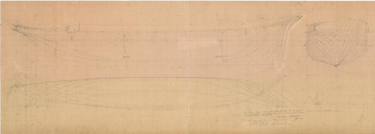 Linjetegning med midtspant av brigg Oscar. Bark Elida er bygget etter samme tegning