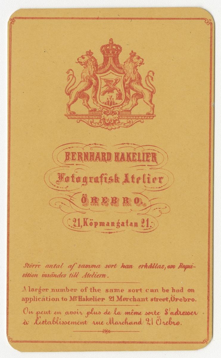 Porträtt av Carl Amandus Hallin, officer vid Skaraborgs regemente I 9.  Se även bild AMA.0002077, AMA.0006718, AMA.0007588 och AMA.0007592.