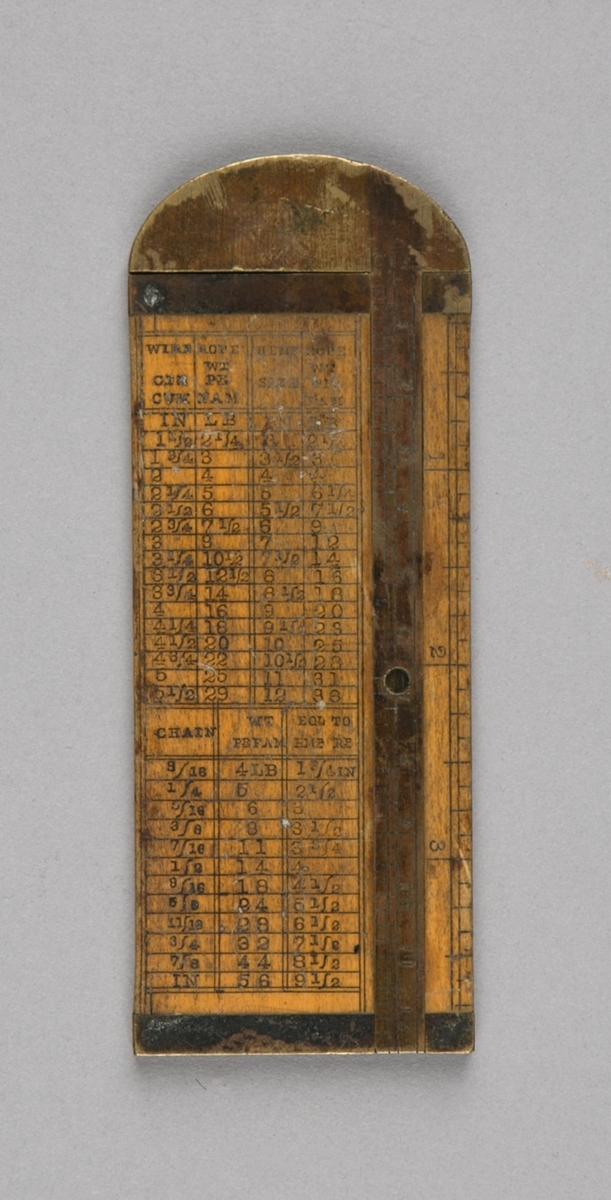 Målestav. Skyvelær til å måle dimensjon på tau og wire. Rektangulær i tre med messingbeslag, halvrundt beslag øverst. Påskrift skala og liste over ulike dimensjoner for tau og wire. Består av to deler som skyves sammen.