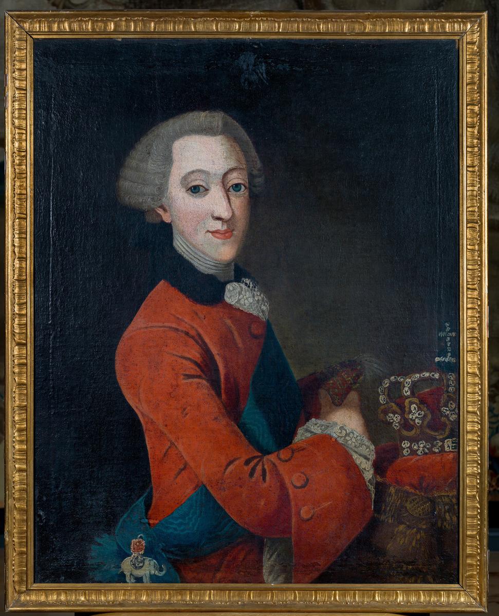Olje på lerret, forgylt ramme, portrett av Christian VII i rød 1700-talls.
