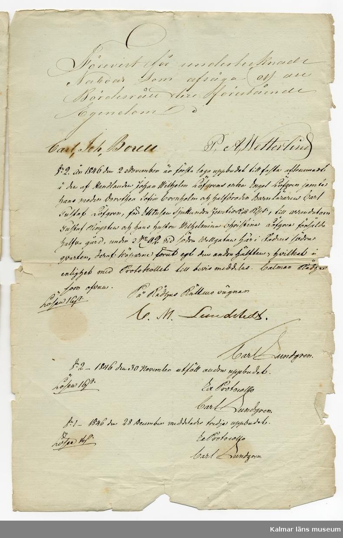 KLM 46339:32. Arkivhandling, köpebrev. Handskriven text på fyra sidor på vitt papper, tre röda sigill samt två mindre papper, fastsatta på första sidan med handskrivna noteringar.