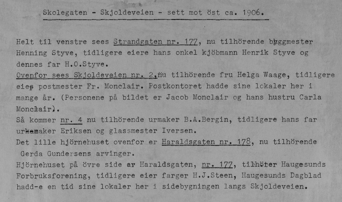 Skolegata - Skjoldavegen sett mot øst, ca. 1906.