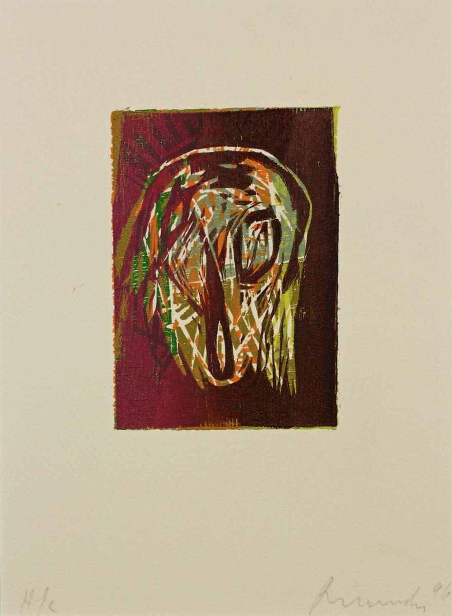 Grafikkmappe med fire av totalt seks trykk. Mappeomslaget har teksten: Edition Galerie Moderne, Silkeborg 1996.