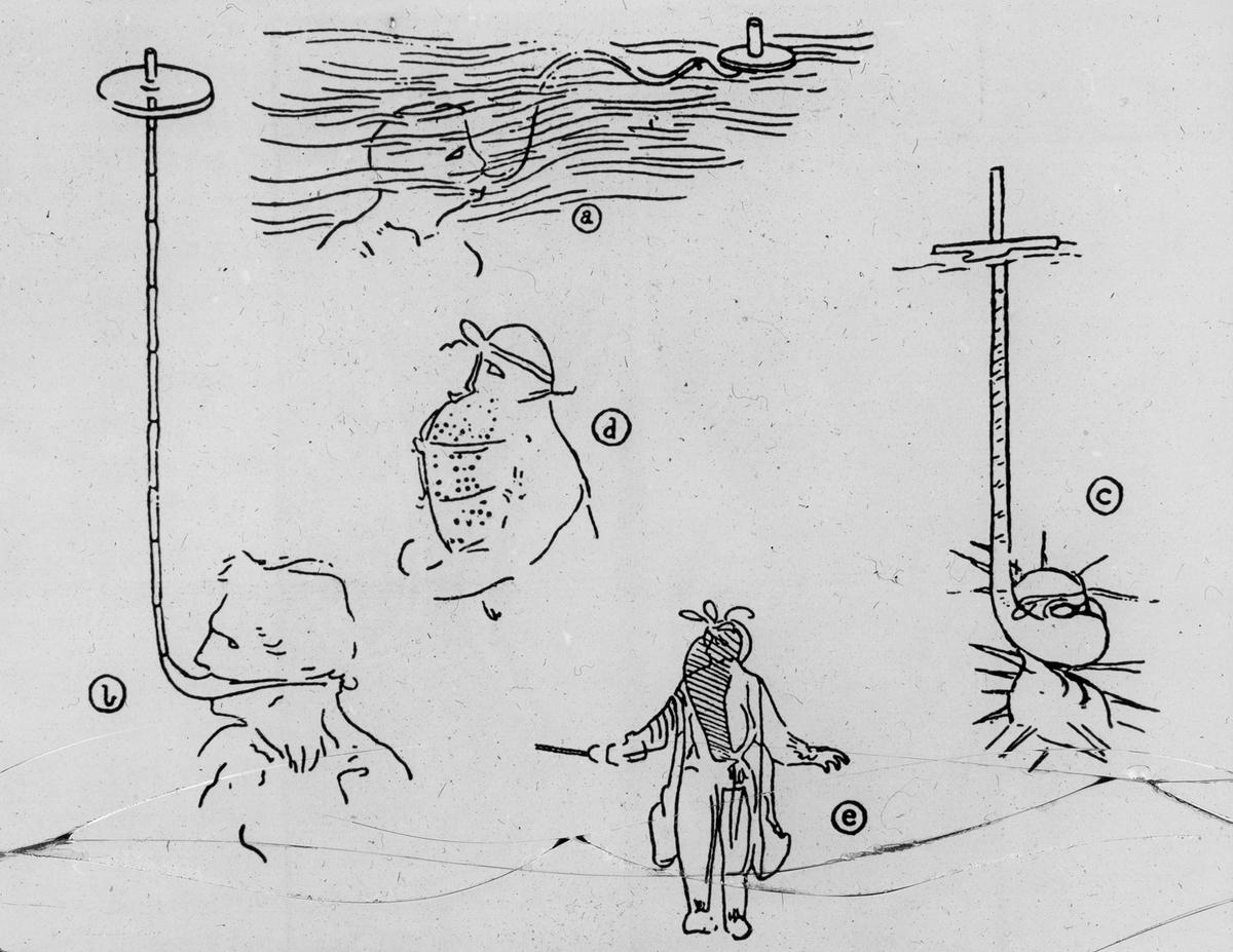 Avfotografert trykk som viser tegning av ulike metoder for oksygentilførsel for dykkere under vann, ant. 1700-1800-tallet.