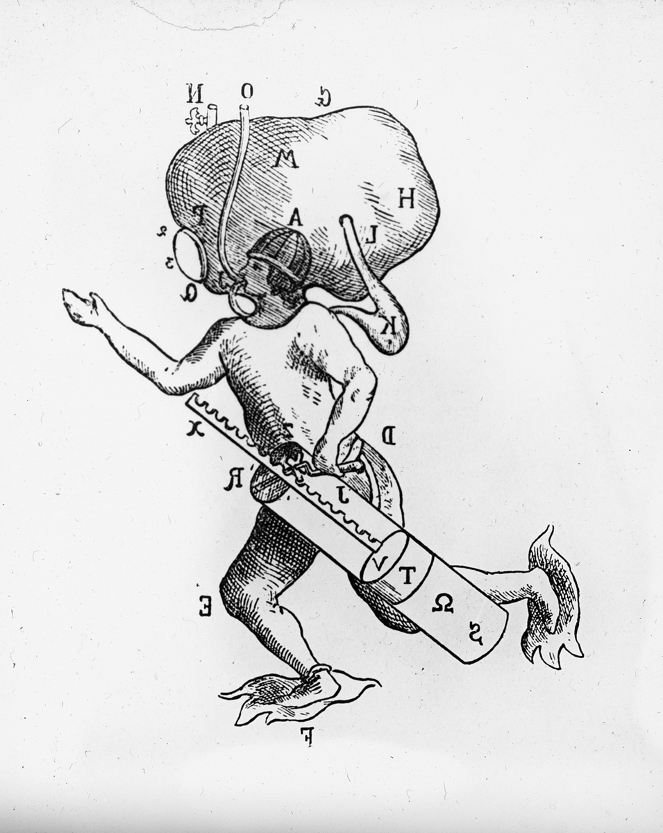 Avfotografert trykk som viser tegning av dykker i dykkerdrakt med oksygenblære, ca 1700-1800-tallet.