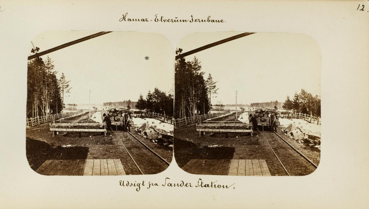 Opplasting av tømmer på Sande (senere Hørsand) stasjon
